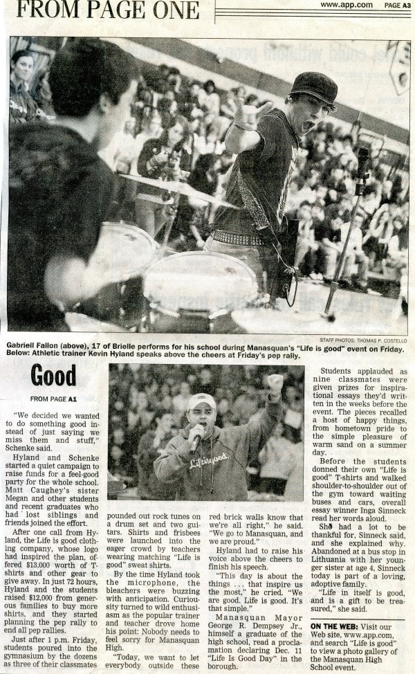 Life is Good Asbury Park Press Article