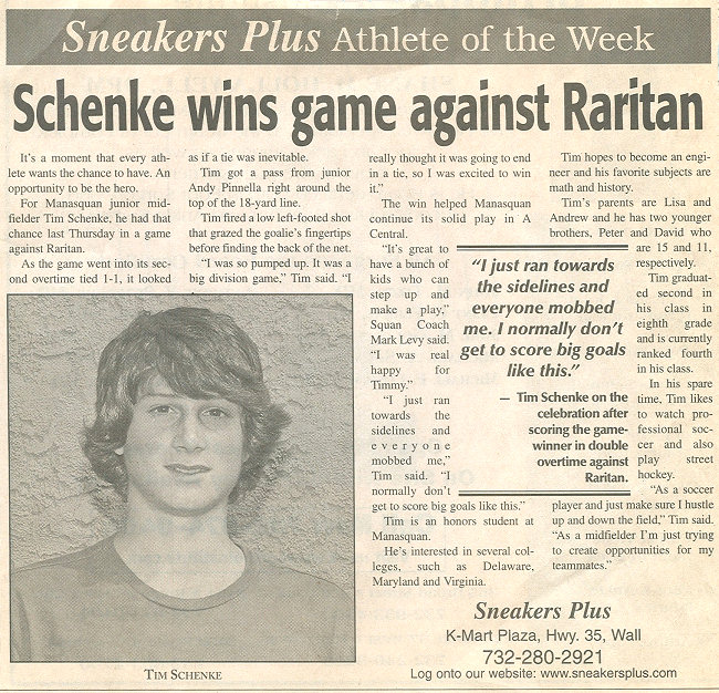 Tim Schenke - Athlete of the Week